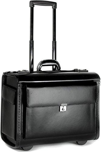 Pilotenkoffer mit Laptopfach und Rollen - Leder - Handgepäcksgröße