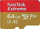 SanDisk Extreme Scheda di Memoria microSDXC da 64 GB e Adattatore SD...