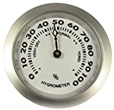 GERMANUS Hygrometer als Ersatz für Humidor 35 mm, Silber