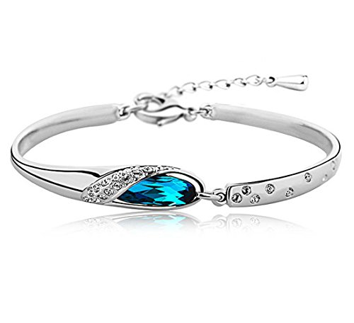 Shining Diva Fashion Platinum Plated Blue Crystal Bangle Bracelet for Girls and Women (Blue)(SDF5956b)