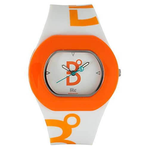 B360 WATCH Unisex-Armbanduhr Small, 3 bars Analog Quarz Silikon B COOL WHITE ORANGE