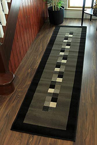 The Rug House Tappeto moderno e morbido, motivo bordato, colori: nero e grigio - 5 formati