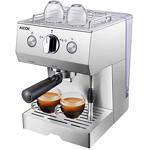 Aicok Macchina Caffe, Macchina Caffe Espresso Italiano Manuale con Pompa 20 Bar in Acciaio Inox,...