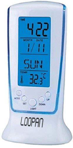 Loopan Digital Square Clock 510 Multi Functional Calendar Alarm Thermometer Table Clock White