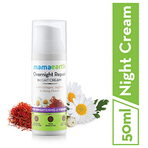 Mamaearth Skin Repair Night Cream for Glowing Skin & Anti Ageing, with Collagen, Saffron & Daisy Flower, 50 ml