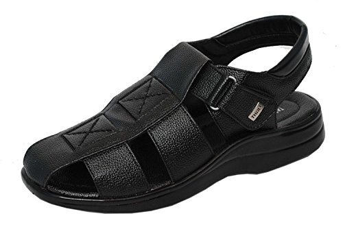Magic Tree Stylish Velcro Leather Sandal For Men's (9, Black)