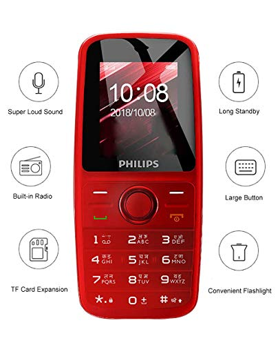 Philips Xenium E108 Dual SIM Mobile Phone-Red