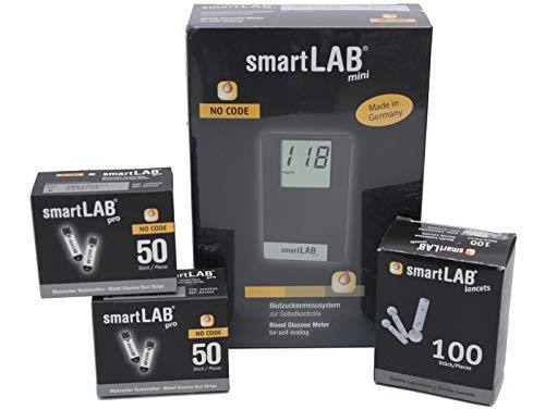 smartLAB mini (mg/dL) Misura glicemia per il diabete | pacchetto con 100 strisce glicemia e 100...
