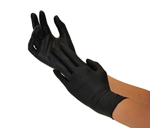 SF Guanti Monouso in Nitrile neri da 200 pezzi (Taglia L, Nero), non sterile, senza polvere, senza...