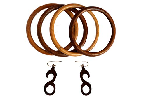 Royal Handicrafts Handcrafted Wooden Bangles – Set of 4 With Earrings