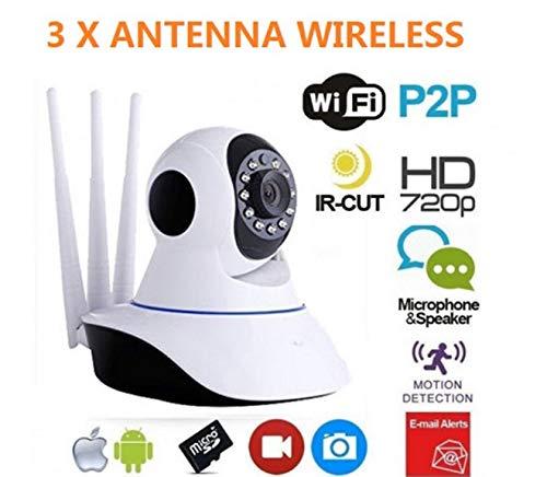 TELECAMERA IP CAM WIFI HD WIRELESS IR LED CAMERA INFRAROSSI VISIONE NOTTURNA LAN MOTORIZZATA 3 ANTENNE