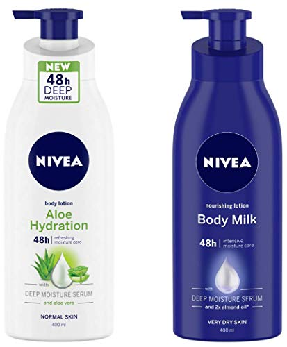 NIVEA Aloe Hydration Body Lotion, 400ml, with deep mpisture serum and aloe vera for normal skin and Nivea Nourishing Lotion Body Milk with Deep Moisture Serum and 2x Almond Oil for Very Dry Skin, 400m