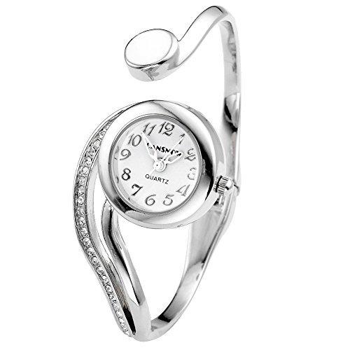 JSDDE orologio analogico da donna con design a bracciale rigido, colore argento