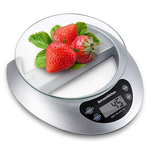 Bonsenkitchen Bilancia da cucina Digitale, vassoio di vetro con funzione e rimozione tara, 5kg/11...