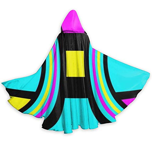 Abstract Colored Geometrica Halloween Mantello Fancy Cappuccio del Capo con Coulisse per Adulti...