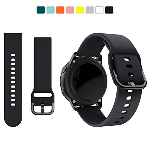 kitway Cinturino Compatibile con Samsung Galaxy Watch Active/Active2/Galaxy Watch 42mm/Gear S2 Classic, 20mm Silicone Cinturino di Ricambio per Galaxy Active 40mm/Active 2 40mm 44mm Smart Watch