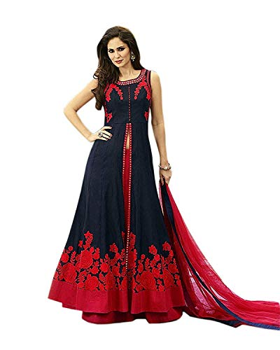 Fast Fashions Women's Embroidered Semi Stitched Anarkali Gown (Red_Free size)