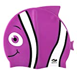 Fun Design Kids Silicone Swim Cap Animal Fish Shaped Swim Hats for Boys and Girls (Purple)