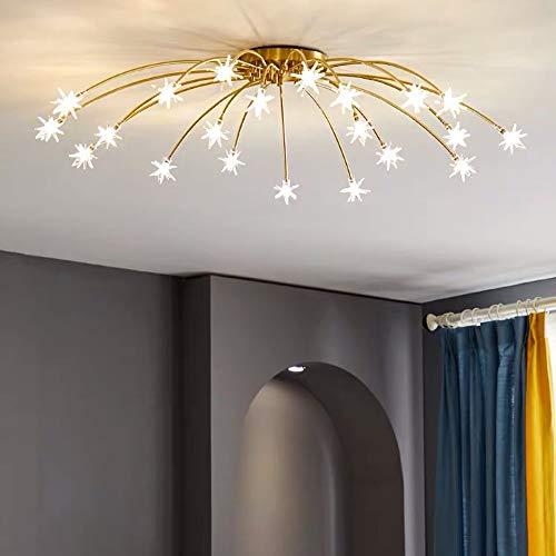 S&W WSW Nordic Living Room Lámpara De Techo Dormitorio Restaurante Star Lights Copper Modern Minimalist Lighting Chandelier Elegante de Moda