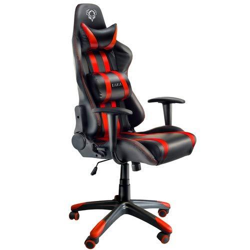 Diablo X-One Gaming Sedia da Ufficio Design Ergonomico Meccanismo di Inclinazione Cuscino Lombare Finta Pelle Portata 150 kg (Nero-Rosso)