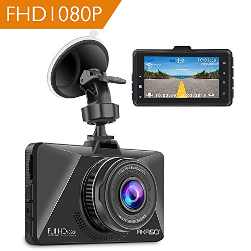 "AKASO Cámara de Coche Dash CAM 1080P FHD 170° Gran Ángulo 3.0"" Pantalla WDR Cámara para Coche Retrovisor G-Sensor Grabación en Bucle Detección de Movimiento HDR Visión Nocturna (C200)"