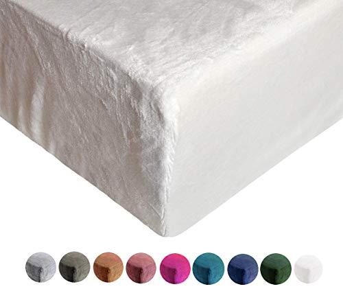Jersey Plüsch Winterqualität Kinder Spannbettlaken für Kindermatratze 60x120-70x140, ÖKO Tex Geprüftes Spannbetttuch (weiß, Einzelpack)