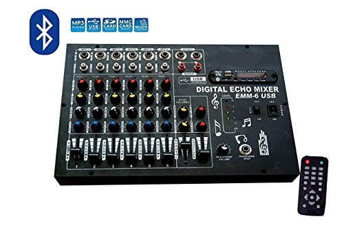 Himack Professional 6 Channel Stero Echo Mixer With Digital Media Player, Bluetooth