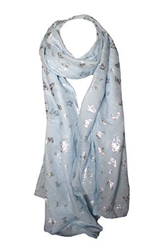 Mariposa Estampado Suave Hoja de Algodón Impreso Bufandas Chal Bufanda Sarong Pañuelo de Cabeza (Azul con Plata)