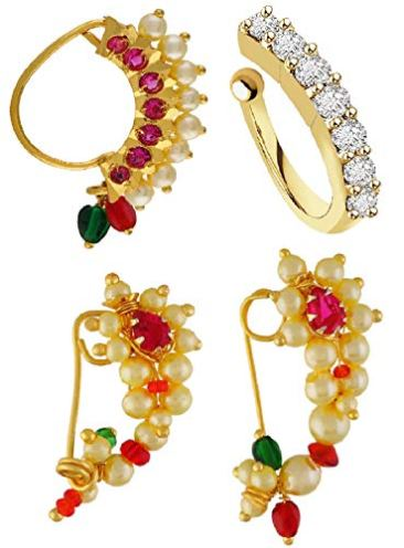 VAMA FASHIONS Gold Plated Maharashtrian Nath Clip on Combo Nose Ring Without Piercing for Women 2