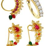 VAMA FASHIONS Gold Plated Maharashtrian Nath Clip on Combo Nose Ring Without Piercing for Women 17