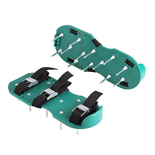 Itian Aireador de Césped Zapatos Sandalias de Pinchos de Metal Hebillas y Correas 3 para Airear el Césped o en el Patio (Verde)