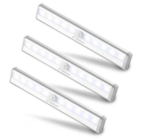 【Set di 3】Zanflare 10 LED Luce per Armadio a Batteria, per Guardaroba, Scala, Corridoio,...