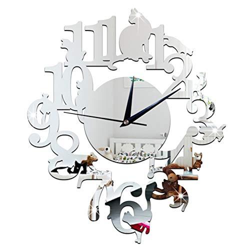 Ho clock Cartoon Cat One-Piece Orologio da Parete Decorazione Creativa Orologio da Parete Silenzioso per Soggiorno Camera da Letto,Silver