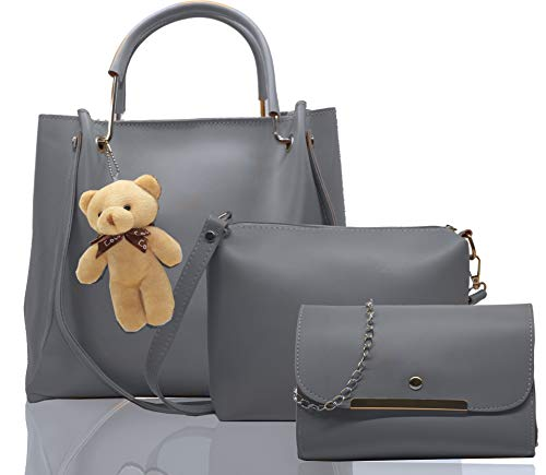 Fargo PU Leather Latest Stylish Handbags For Women's Ladies Combo Of 3 (Grey_Teddy_FGO-239)