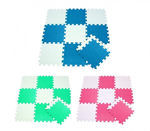 Tappeto Puzzle Bicolore Liscio Componibile 10 pz 29.5 x 29.5 x 0.8 Gioco Bambini Protezione Da Urti...