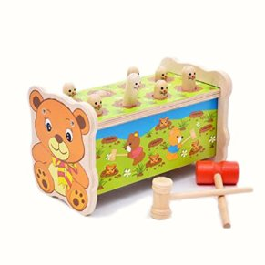 Orso calpestio panca Giocattolo di legno con martello, carino Gophers pioli educazione Giocattolo con Maglio