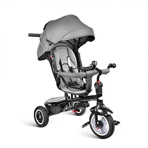 FJHLZ Triciclo Bicicletta 7 in 1 Push Baby Triciclo Passeggino A Tre Ruote con Sedia Girevole E Regolabile Adatto per I Bambini A Dormire,Gray