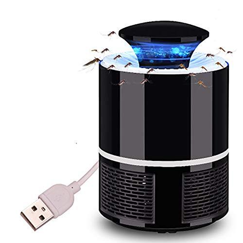 AOLVO USB Atrapa Mosquitos con Luz LED, Trampa Mosquitos Eléctricos para Insectos, Sin Productos Químicos, Negro