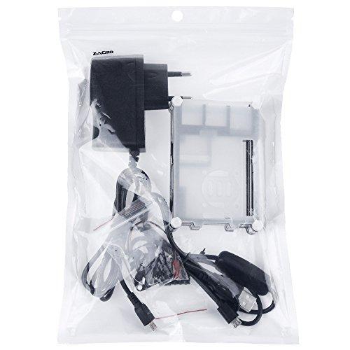 41rMKKP4q1L - Zacro 5-EN-1 Kit para Raspberry Pi 3 y 2, Caja de 9 Capas de Refrigeración + Mini Fan con 4 Tornillos+ USB Cable Encendido + 3 Disipador de Calor + USB Cable Cargador