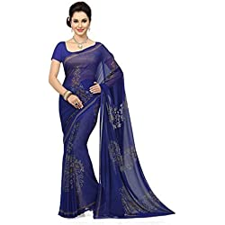 Ishin Georgette Saree (Ishinsb-8204_Royal Blue)