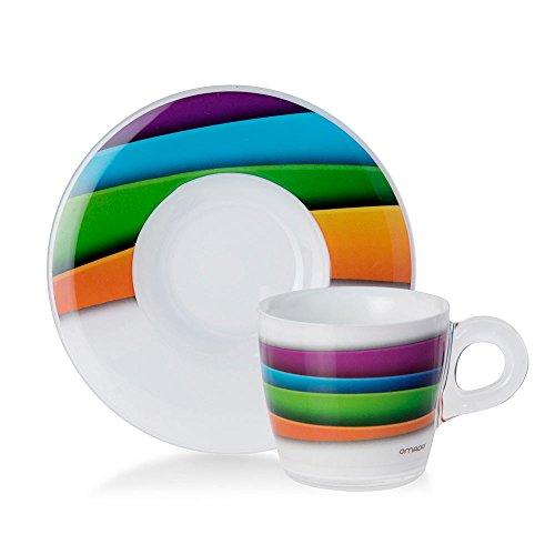 Omada Design Set 4 tazzine da caffè, da 9 cl, in plastica infrangibile e lavabile in lavastoviglie...