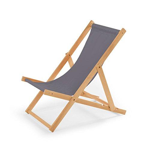 Gartenliege aus Holz Liegestuhl Relaxliege Strandstuhl (Grau)
