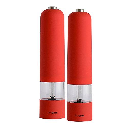 ProCook Soft Touch elektrische Salz- und Pfeffermühle Set, rot
