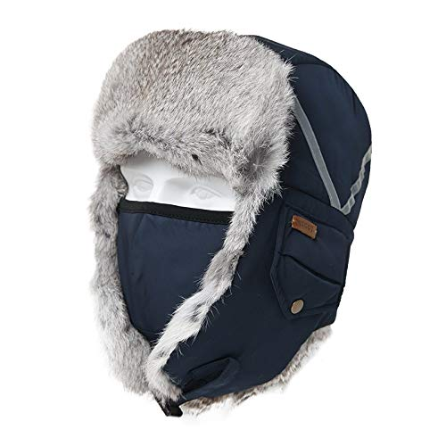 Cappelli Bomber,Lei Feng cap,Men's Winter Blue Warm Bomber Hat Male Winter Reflex Lei Feng Caps Female Outdoor Thickening And Warm Riding Ski cap Mask Hats,for Outdoor Skiing Running Climbing Spo
