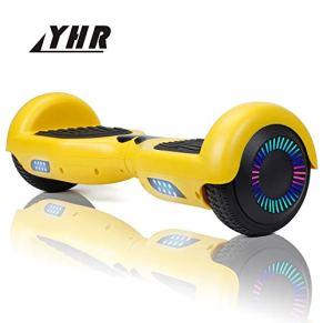 YHR HR Hoverboard 6,5 Pulgadas para niños y Adultos, Scooter eléctrico Inteligente de 2 Ruedas con LED de Colores, Auto balanceo por la borda con Bolsa de Transporte y Cargador Europeo
