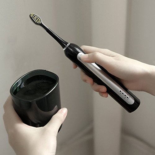 Brosse à Dents Électrique Rechargeable Brosse à Dents Sonique 3 Modes Intelligente Minuteur Intégré avec Assainisseur UV & 4 Brosse de Recha... 26