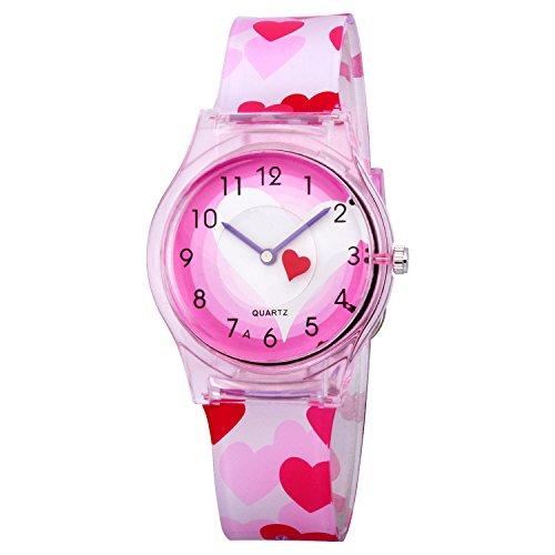 Zeiger Orologio impermeabile Time Teacher al quarzo orologi per bambini gemelli ragazze Pink KW047