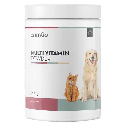 Animigo Multivitaminas En Polvo para Perros y Gatos - Ideal para Mascotas Activas, En Período de Recuperación y Madres Lactantes - Contiene Vitaminas, Minerales y Aminoácidos - 200g