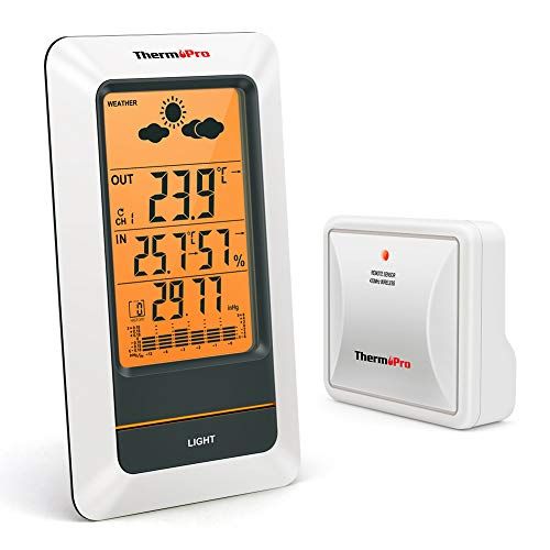 ThermoProTP67 Stazione Meteo Ricaricabile Termometro Igrometro Wireless da Interno Esterno...