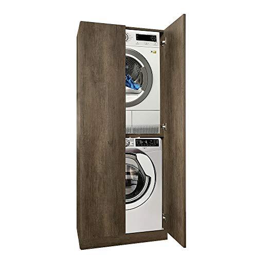 UNIKA - Colonna per inserimento lavatrice e asciugatrice con ante L70 x P70 x H1,74 (Olmo Bianco)